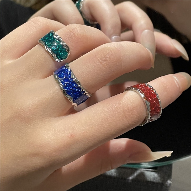 fashion flame color spray paint lava open ring NHYQ363364