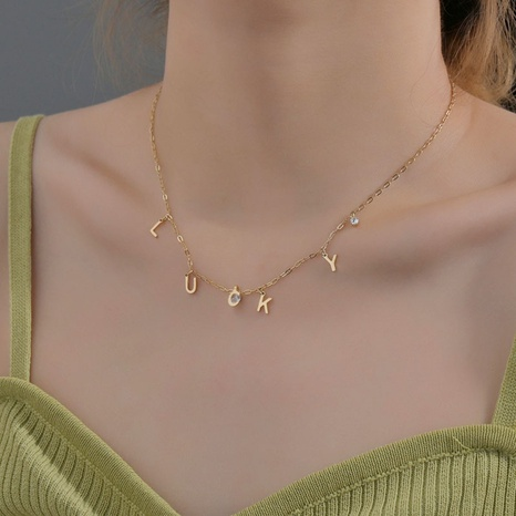 Korean letter stainless steel necklace NHHF363494's discount tags