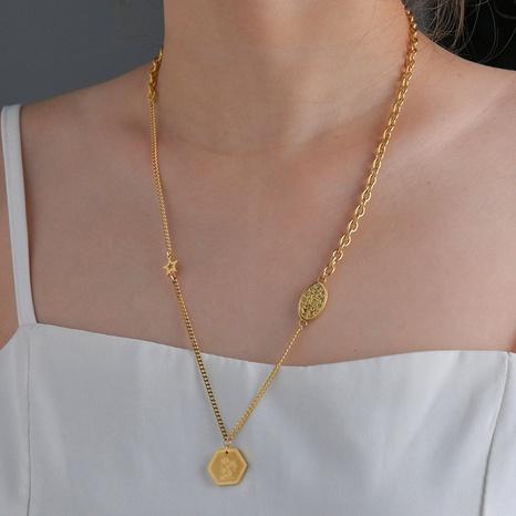 Collier de couture d'étoiles hexagonales géométriques à la mode NHHF363497's discount tags