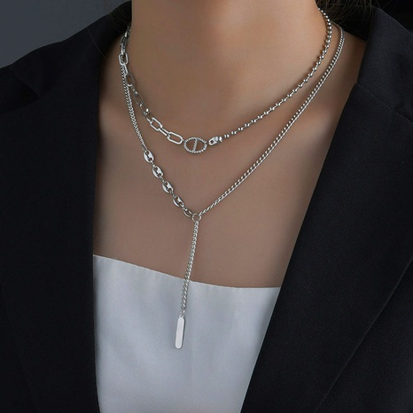 Collier à double couche avec boucle de nez de cochon à la mode NHHF363500's discount tags