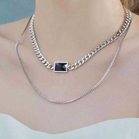 collier double pierre noire rétro NHHF363511's discount tags