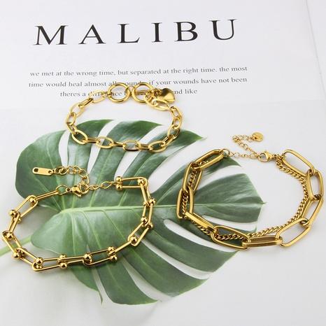 bracelet en acier au titane avec chaîne en étoile à lettres simples NHBP363519's discount tags