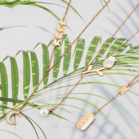 Collier de fleurs avec étiquette brillante en coquille de mode coréenne NHBP363521's discount tags