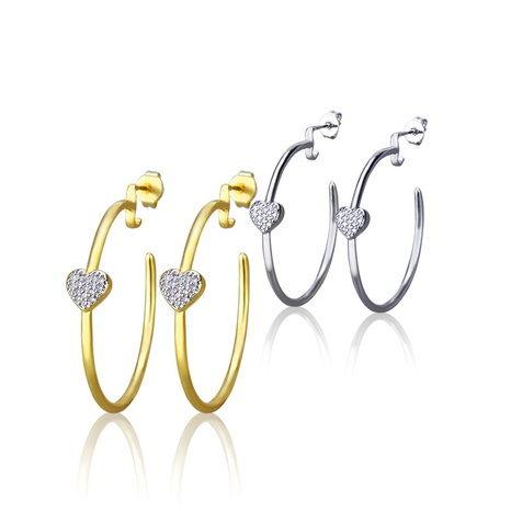 boucles d'oreilles en cuivre en forme de coeur rond à la mode NHBP363525's discount tags