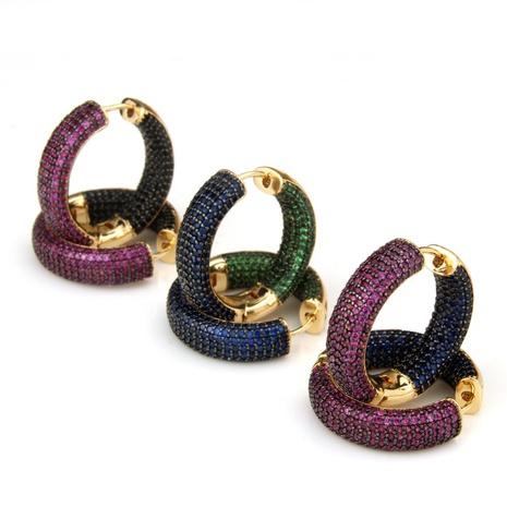 boucles d'oreilles en diamant à sept rangs bicolores à la mode simple NHBP363526's discount tags