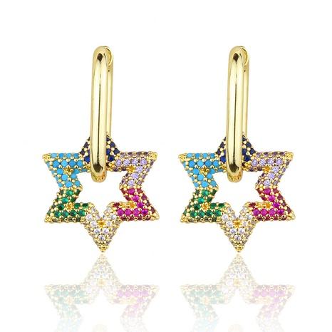 boucles d'oreilles étoiles en zirconium couleur mode simple NHBP363527's discount tags