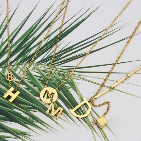 Collier en acier au titane avec lettre brillante à la mode coréenne NHBP363536's discount tags