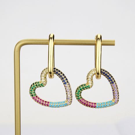 boucles d'oreilles en forme de coeur en zirconium couleur mode NHBP363535's discount tags