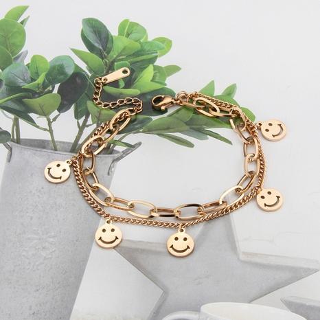 bracelet en acier au titane de chaîne de visage souriant de lettre de mode NHBP363540's discount tags