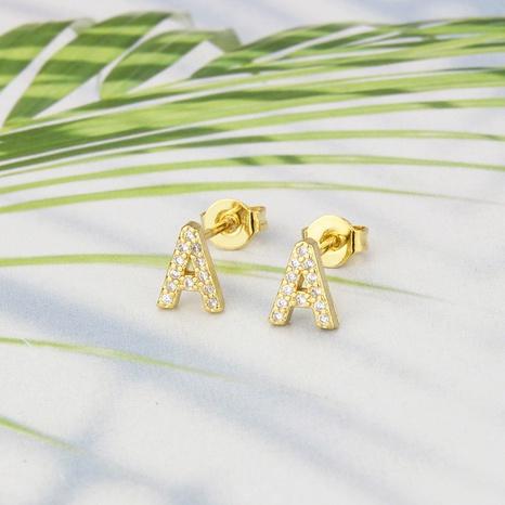 boucles d'oreilles simples en alphabet anglais incrusté de zirconium NHBP363548's discount tags