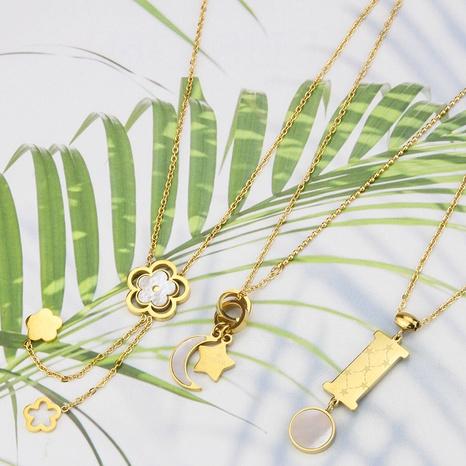 Korean Fashion Shell Glossy Smiley Halskette NHBP363555's discount tags