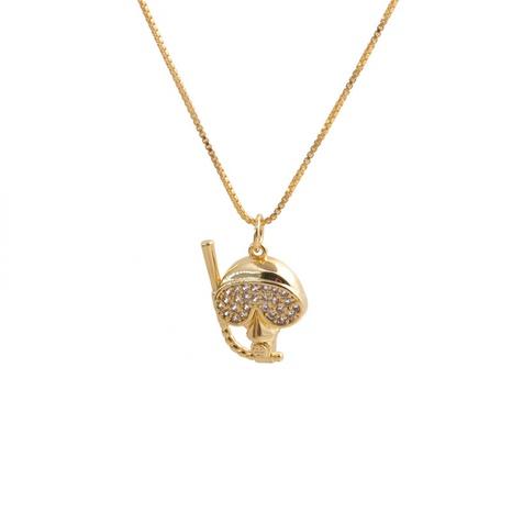 Collier pendentif tête de mort en cuivre et zircon rétro incrusté de micro-incrustations NHYL363625's discount tags