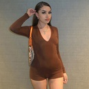 fashion solid color long sleeve slim fit deep Vneck sexy jumpsuit NHUO364691