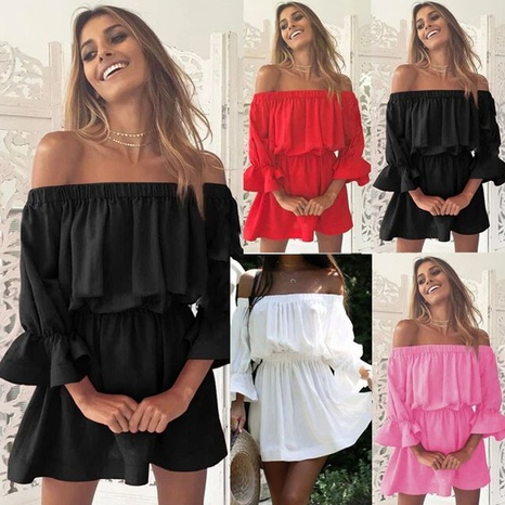 robe de couleur unie sexy à la taille et col une ligne NHUO363980's discount tags