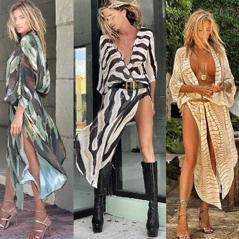 robe en mousseline sexy à col en V profond et imprimé lâche NHUO363947's discount tags
