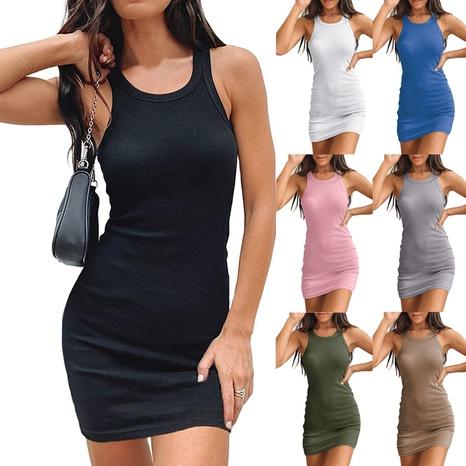 nouvelle robe de couleur unie moulante sexy sans manches NHUO363945's discount tags