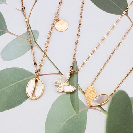 Collier en acier titane papillon d'amour coréen NHBP363550's discount tags