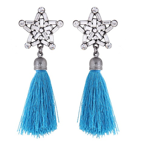 fashion metal bright five-pointed star tassel earrings NHSC363729's discount tags