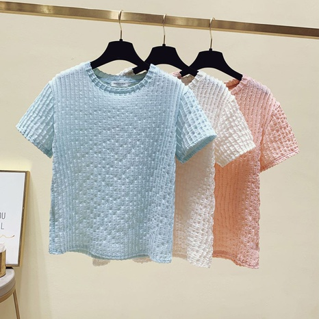 fashion pleated solid color T-shirt wholesale  NHZN363881's discount tags