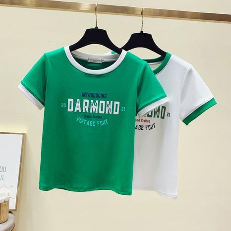 T-shirt d'impression de lettre à col rond à la mode en gros NHZN363880's discount tags