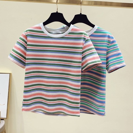 nouveau t-shirt ample à rayures arc-en-ciel NHZN363879's discount tags