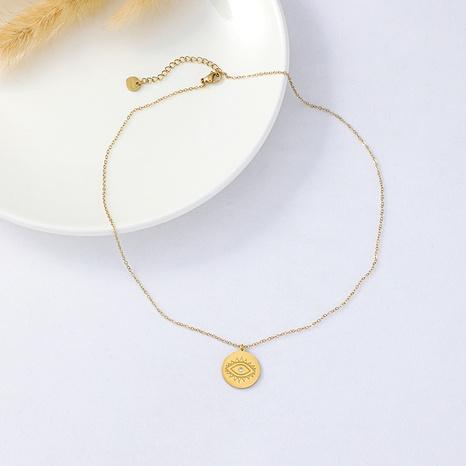 Collar de acero inoxidable con colgante de ojo de diablo griego vintage NHYUN363648's discount tags
