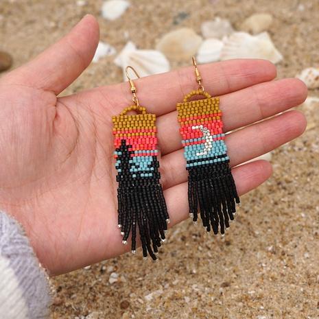 exaggerated miyuki bead moon tassel earrings wholesale NHYUX363661's discount tags