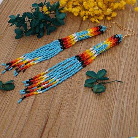 ethnic style miyuki  beads handmade woven tassel long earrings NHYUX363664's discount tags