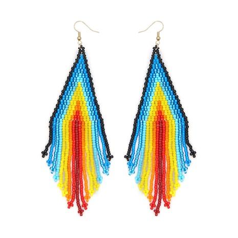 Exotic geometric hand-worn rice bead tassel earrings  NHYUX363689's discount tags