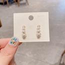 Korean geometric caterpillar pearl earrings  NHCG363702