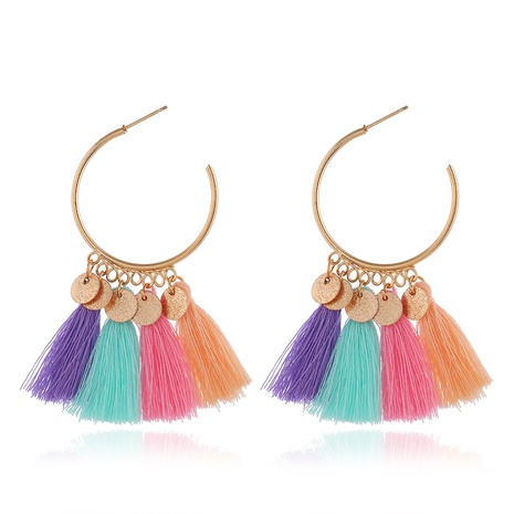 bohemian ethnic style sequins long tassel earrings NHMO363765's discount tags