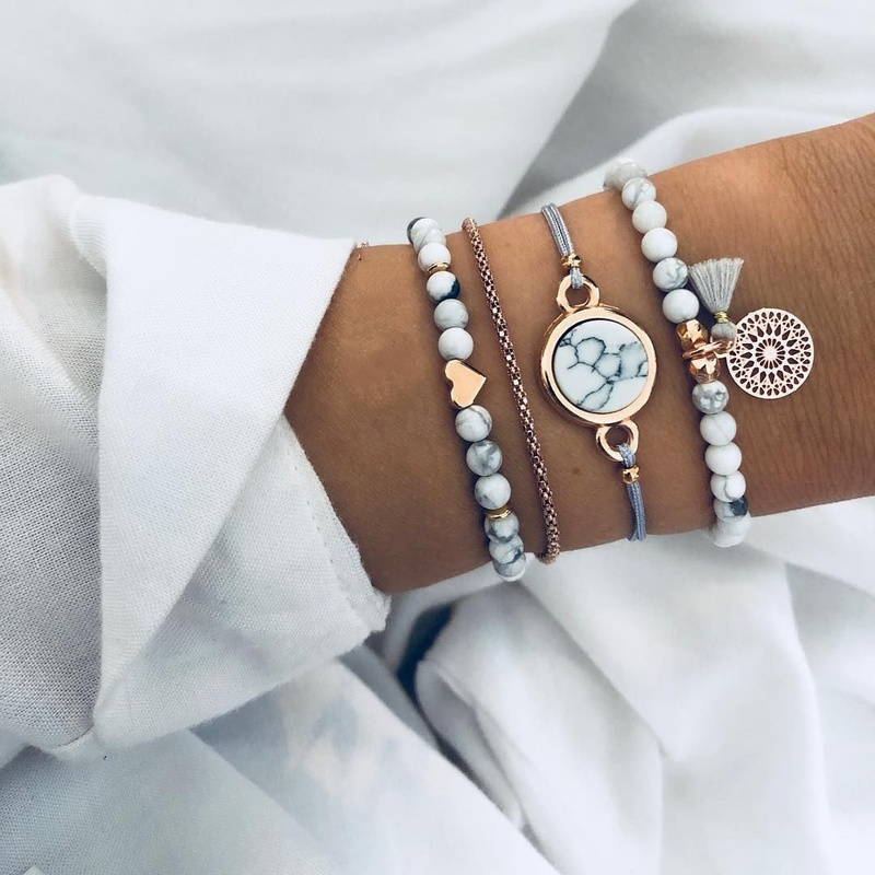 retro turquoise tassel round stone beaded bracelet 4piece set NHCU363794