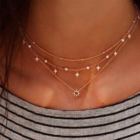 fashion multi-layer star pendant necklace NHCU363847