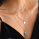 Korean fashion turquoise horn shape pendant multilayer necklace  NHAN364107