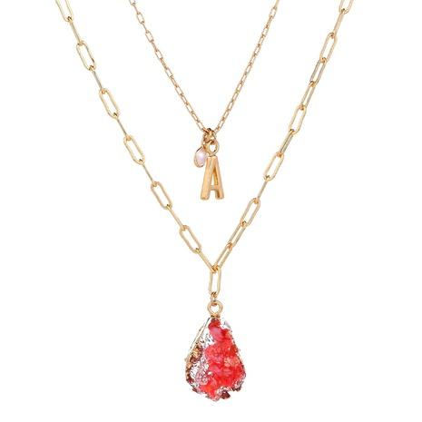 Mode imitierte Naturstein-Tropfen-Anhänger mehrschichtige Halskette NHAN364113's discount tags
