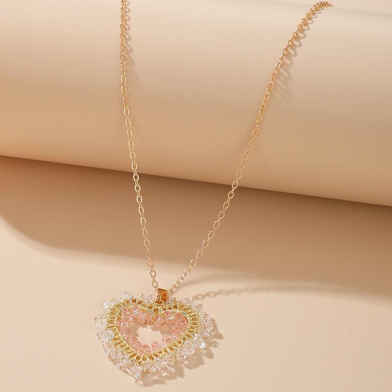 fashion diamond heart pendant necklace NHGY365914
