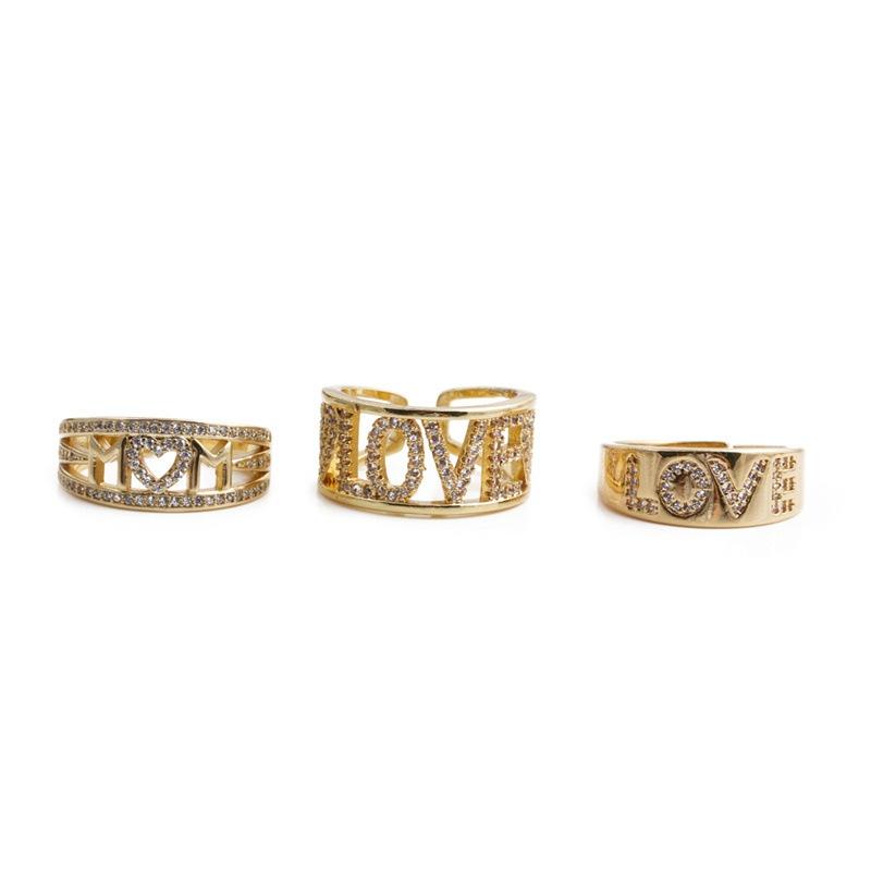 Retro letter MOM LOVE opening adjustable ring  NHYL364243
