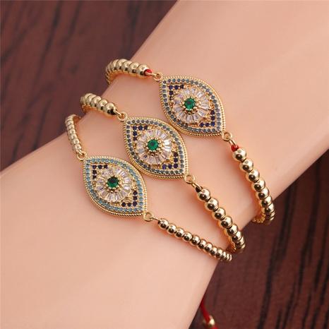 simple green zirconium devil's eye copper bracelet NHYL364253's discount tags