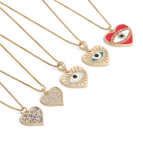 Collar con colgante de circonita de ojos de diablo en forma de corazón de moda NHYL364255's discount tags