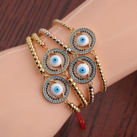 Fashion copper zircon devil's eye adjustable bracelet NHYL364273's discount tags