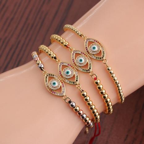 retro copper inlaid zircon Devil's eye woven bracelet NHYL364276's discount tags