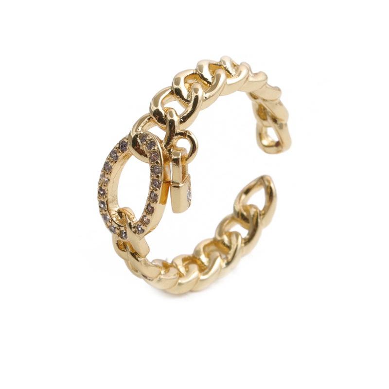 Retro chain copper microinlaid ring NHYL364281
