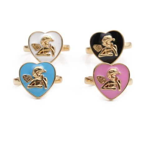 Retro dripping oil heart angel portrait ring NHYL364354's discount tags