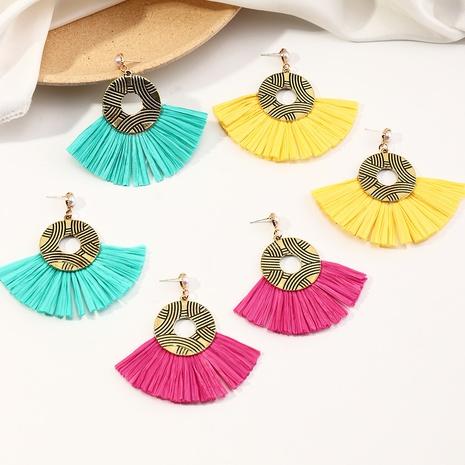 ethnic style bronze fan-shaped color raffia tassel earrings NHNZ364386's discount tags