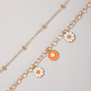 simple flower small daisy anklet 2piece set NHGY365905
