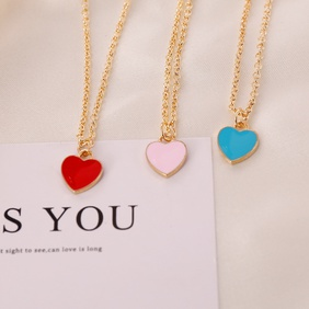 fashion love double-sided dripping oil necklace NHBW364424