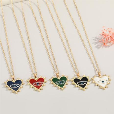 collar con colgante de corazón con diseño de ojo de diablo de la suerte de diamantes de imitación bohemios NHGO364449's discount tags