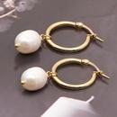simple bohemian pearl hoop earrings NHYUZ364491