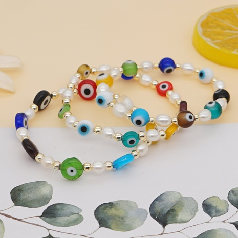 simple pearls colored glaze Devil's eyes gold bead bracelet  NHYUZ364495's discount tags