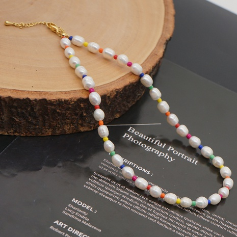 Baroque ethnic pearl stained glass bead necklace wholesale NHYUZ364502's discount tags